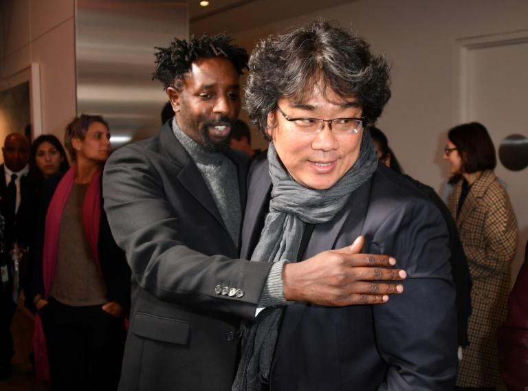 """South Korean director Bong Joon-ho, pictured with fellow nominee Ladj Ly of France, has generated a wave of support for """"Parasite"""""""