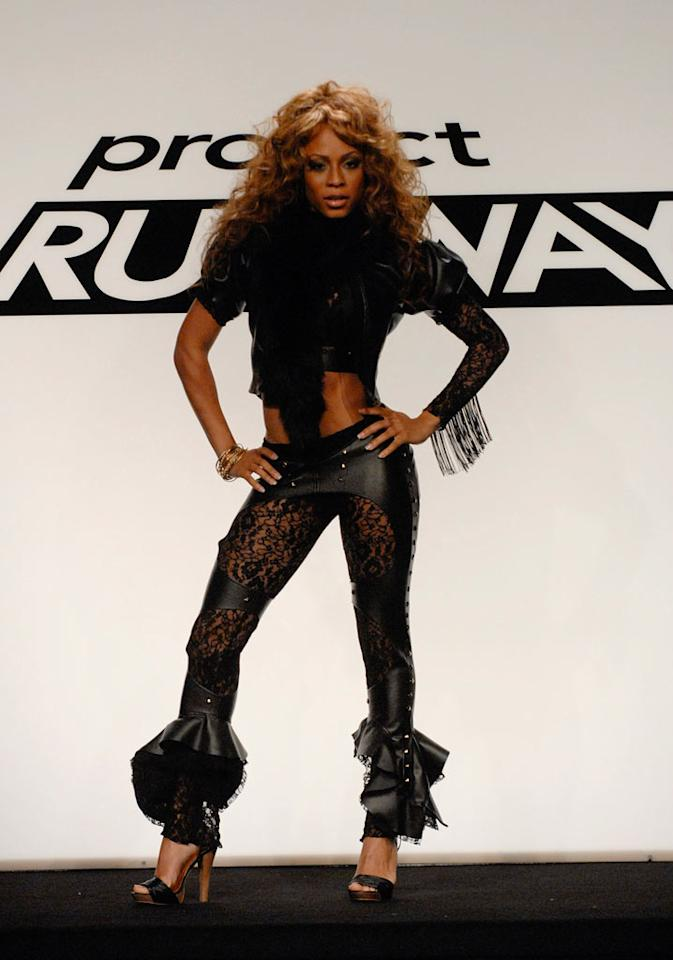 """""""Raw Talent"""" design challenge on Season 4 of <a href=""""/project-runway/show/36319"""">Project Runway</a>. Kristal in a design by Christian."""