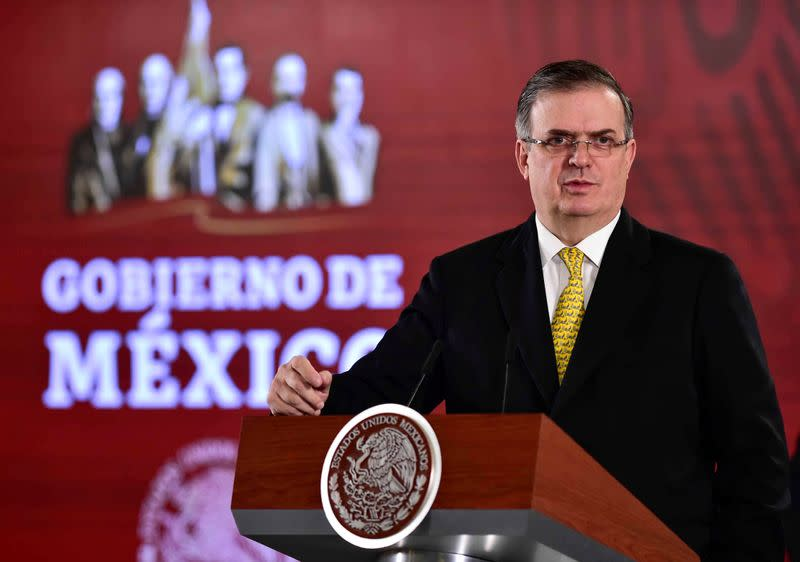 Mexico's Foreign Minister Marcelo Ebrard speaks during a news conference at National Palace in Mexico City
