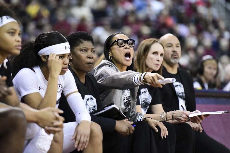 South Carolina head coach Dawn Staley shouts at players during the second half of an NCAA college basketball game Monday, Jan. 20, 2020, in Columbia, S.C. South Carolina defeated Mississippi State 81-79. (AP Photo/Sean Rayford)