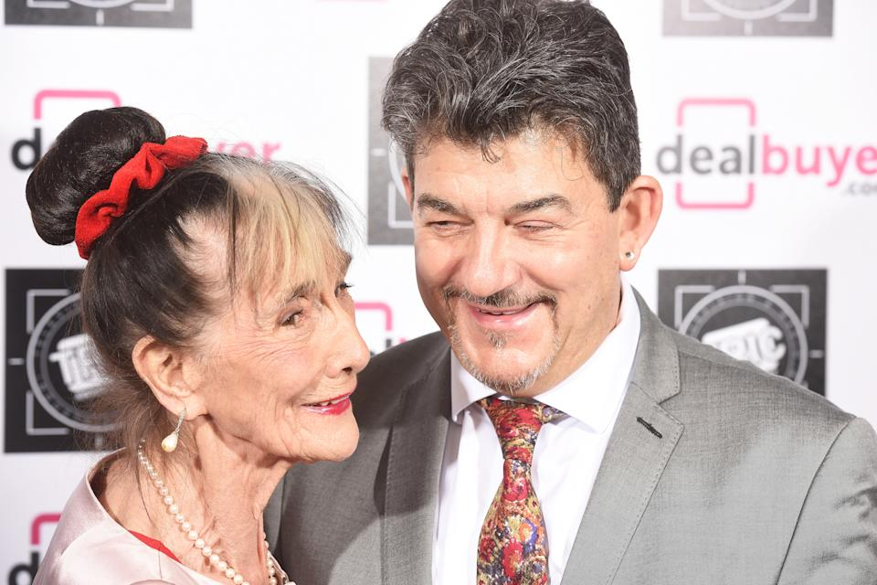 LONDON, ENGLAND - MARCH 14:  (L) June Brown and John Altman attend the TRIC Awards 2017 at The Grosvenor House Hotel on March 14, 2017 in London, England.  (Photo by Dave J Hogan/Getty Images)