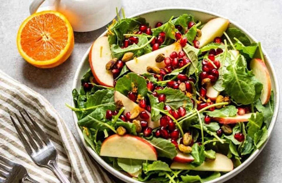 """<p>Spring and summer are loaded with delicious and nutrient-packed foods, but adding kale to the dinner table is a sure-fire way to chow down on an immune-boosting food. This kale salad is mixed with a homemade maple mustard dressing that gives it a sweet and subtly spicy flare.</p> <p><a href=""""https://www.thedailymeal.com/recipes/kale-and-apple-salad-maple-mustard-dressing-recipe?referrer=yahoo&category=beauty_food&include_utm=1&utm_medium=referral&utm_source=yahoo&utm_campaign=feed"""" rel=""""nofollow noopener"""" target=""""_blank"""" data-ylk=""""slk:For the Kale and Apple Salad With Maple Mustard Dressing recipe, click here."""" class=""""link rapid-noclick-resp"""">For the Kale and Apple Salad With Maple Mustard Dressing recipe, click here.</a></p>"""
