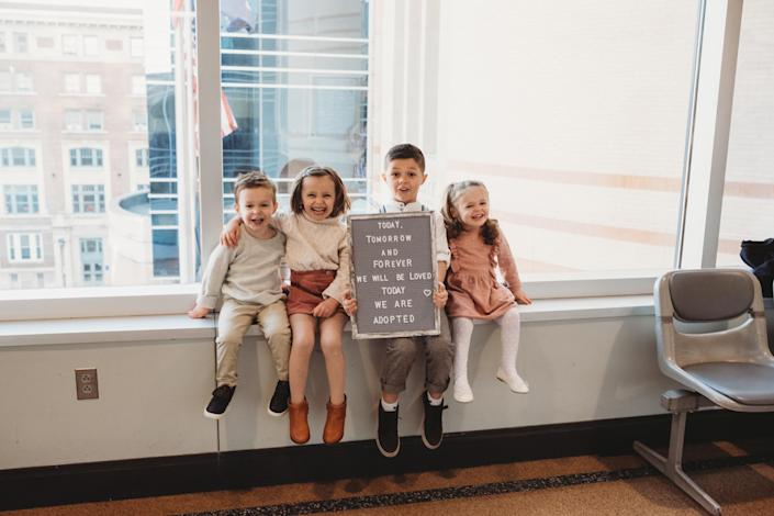 The Young's adopted siblings Connor, Parker, Aiden and Elliott in Dec. 2019. (Digital Dreamer Photography)