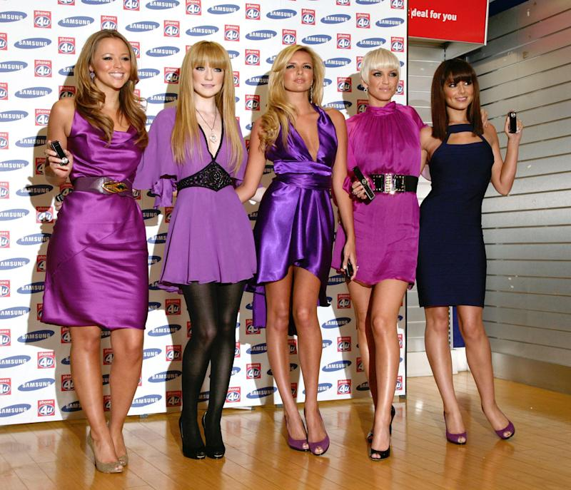 Girls Aloud (left-right) Kimberley Walsh, Nicola Roberts, Nadine Coyle, Sarah Harding and Cheryl Cole at the launch of the Samsung F210 Purple phone, at Phones 4U on Oxford Street, central London.