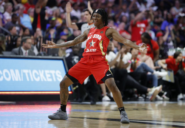 """A record-tying seven 3-pointers from <a class=""""link rapid-noclick-resp"""" href=""""/wnba/players/5461/"""" data-ylk=""""slk:Erica Wheeler"""">Erica Wheeler</a> led Team Wilson past Team <a class=""""link rapid-noclick-resp"""" href=""""/wnba/players/5058/"""" data-ylk=""""slk:Delle Donne"""">Delle Donne</a> in the WNBA All-Star Game on Saturday afternoon. (AP/John Locher)"""