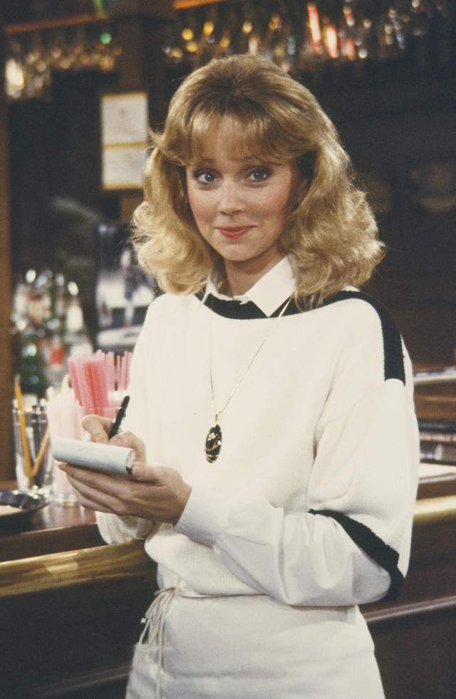 Shelley Long on the set of <i>Cheers</i> in 1983. Fun fact: She may have been napping in her trailer right before or right after this photo was taken. (Photo: Getty Images)