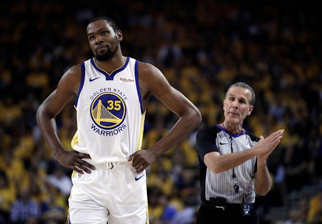 Kevin Durant won't be able to go in Game 2 against the Trail Blazers. (AP Photo/Ben Margot)