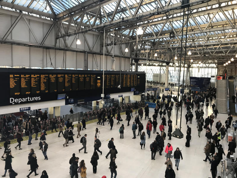 General view of Waterloo station, as hundreds of thousands of rail passengers faced travel misery on Monday at the start of a series of strikes in the long-running dispute over guards on trains.