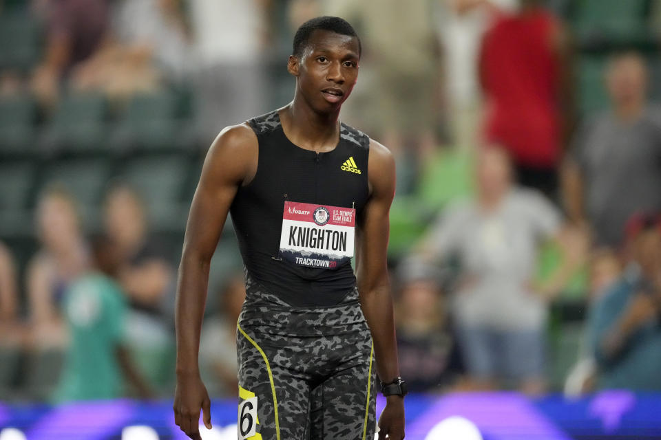 Erriyon Knighton finishes in third during the final in the men's 200-meter run at the U.S. Olympic Track and Field Trials Sunday, June 27, 2021, in Eugene, Ore. (AP Photo/Ashley Landis)