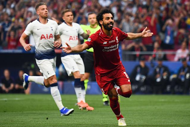 Mohamed Salah celebrates after scoring the opening goal of the Champions League final. (Getty)