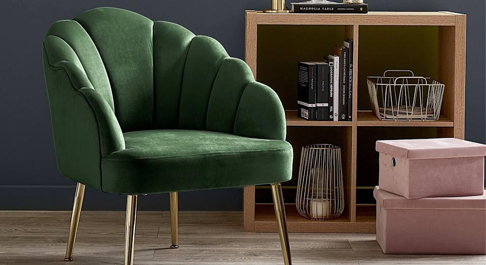 We can't believe this chic scalloped chair is under £100. (Homebase)