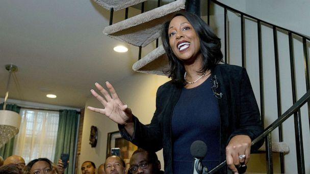PHOTO: Maya Rockeymoore Cummings speaks to the media and supporters from the stairs of her home announcing her campaign for her late husband's congressional seat, in Baltimore, Nov. 12, 2019. (Jose Luis Magana/AP)