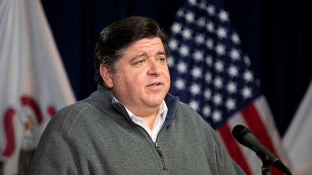 PHOTO: Illinois Gov. J.B. Pritzker speaks during the daily press briefing regarding the coronavirus pandemic, May 3, 2020, at the James R. Thompson Center in Chicago. (Erin Hooley/Chicago Tribune/TNS via Getty Images, FILE)
