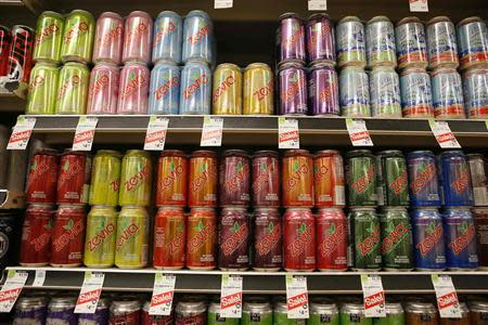 Cans of Zevia soda are seen in a supermarket in Los Angeles