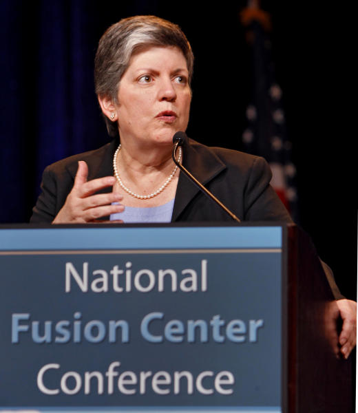 FILE - In this March 15, 2011 file photo, Homeland Security Secretary Janet Napolitano speaks at the National Fusion Center Conference in Denver. A multibillion-dollar information-sharing program that was created in the aftermath of 9/11 has improperly collected information about innocent Americans and produced no valuable intelligence on terrorism, according to a Senate report that describes an effort that ballooned far beyond anyone's ability to control. (AP Photo/Ed Andrieski, File)