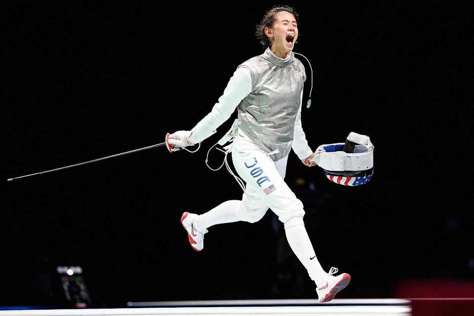 Lee Kiefer of Team United States celebrates after winning the Women's Foil Individual Fencing semifinal 2 against Larisa Korobeynikova of Team ROC on day two of the Tokyo 2020 Olympic Games at Makuhari Messe Hall on July 25, 2021 in Chiba, Japan.