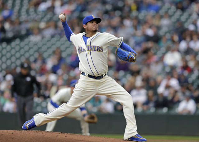 Seattle Mariners starting pitcher Felix Hernandez works against theTampa Bay Rays during the first inning of a baseball game on Sunday, June 3, 2018, in Seattle. (AP Photo/John Froschauer)
