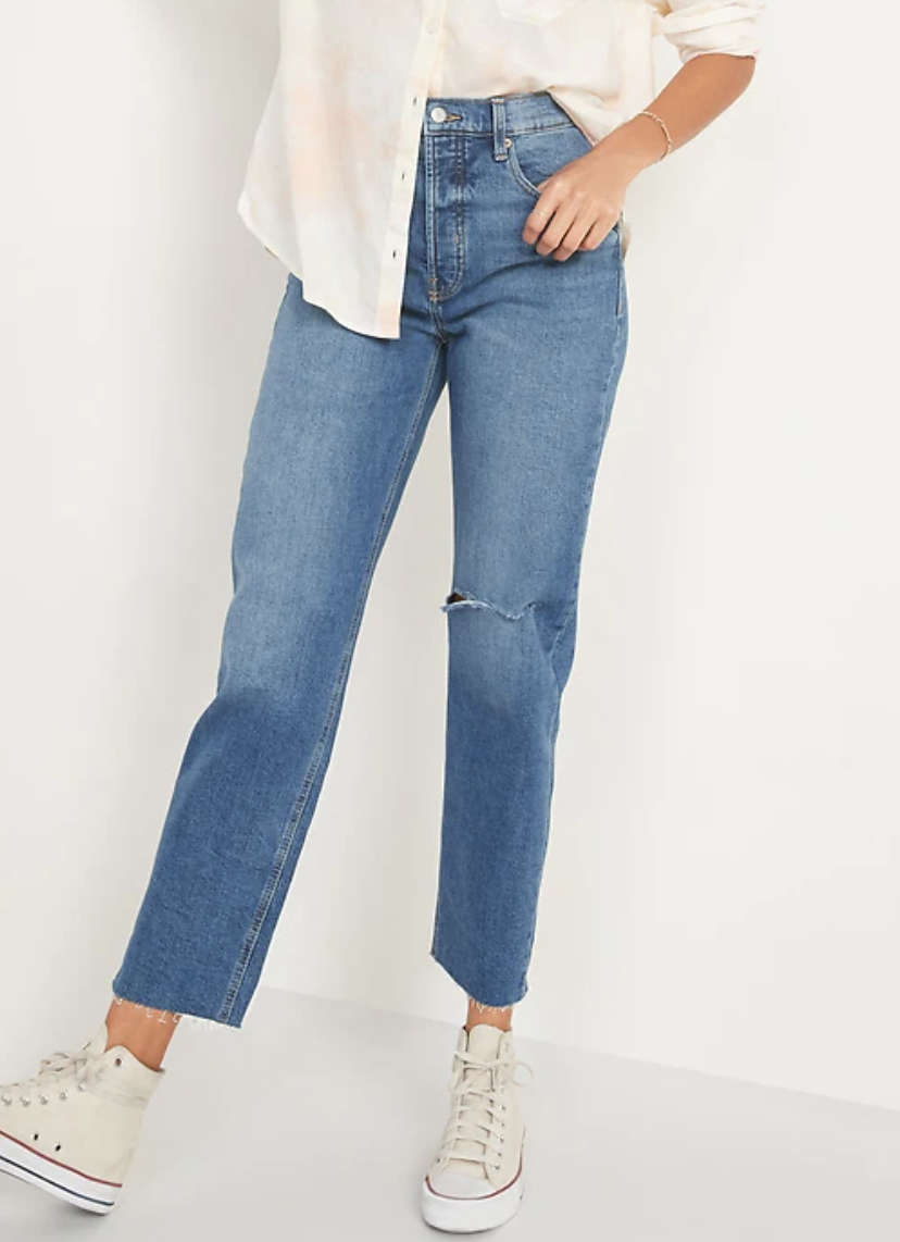 Extra High-Waisted Sky Hi Straight Button-Fly Ripped Jeans for Women - Old Navy