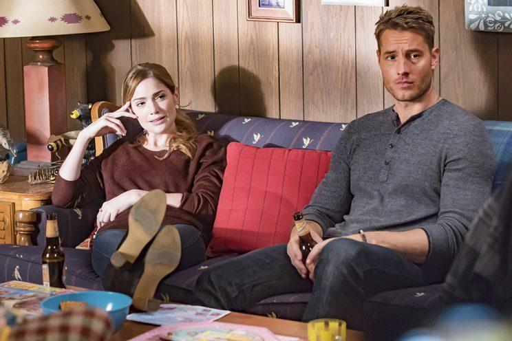 Janet Montgomery as Olivia Maine and Justin Hartley as Kevin (Credit: Ron Batzdorff/NBC)