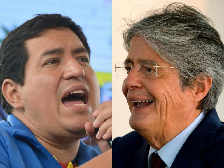 Ecuador's presidential candidates Andres Arauz (left) and Guillermo Lasso are neck and neck in opinion polls