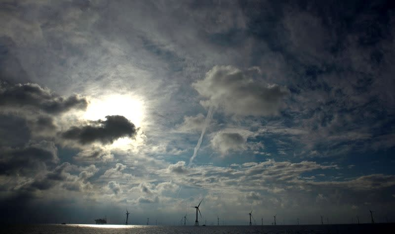 """FILE PHOTO: A view shows windmills of several wind farms at the so-called """"HelWin-Cluster\"""