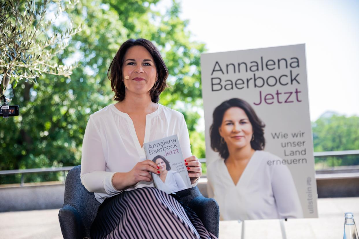 17 June 2021, Berlin: Annalena Baerbock, candidate for chancellor and federal leader of Bündnis 90/Die Grünen, sits at the beginning of the presentation of her book