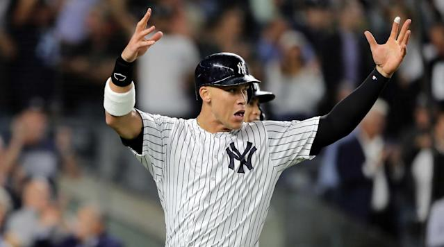 "<a class=""link rapid-noclick-resp"" href=""/mlb/players/9877/"" data-ylk=""slk:Aaron Judge"">Aaron Judge</a> and the <a class=""link rapid-noclick-resp"" href=""/mlb/teams/ny-yankees/"" data-ylk=""slk:Yankees"">Yankees</a> top of the list of World Series odds for 2019. (AP)"