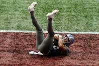 Detroit Lions tight end T.J. Hockenson (88) falls into the end zone for a touchdown against the Atlanta Falcons during the second half of an NFL football game, Sunday, Oct. 25, 2020, in Atlanta. The Detroit Lions won 23-22. (AP Photo/Brynn Anderson)