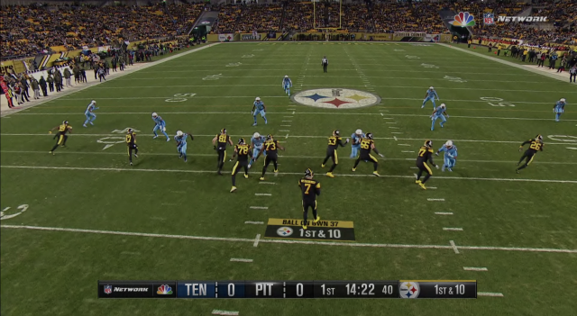 NBC used the SkyCam view as the primary angle for its Titans-Steelers broadcast. (NBC/Amazon Prime screen shot)