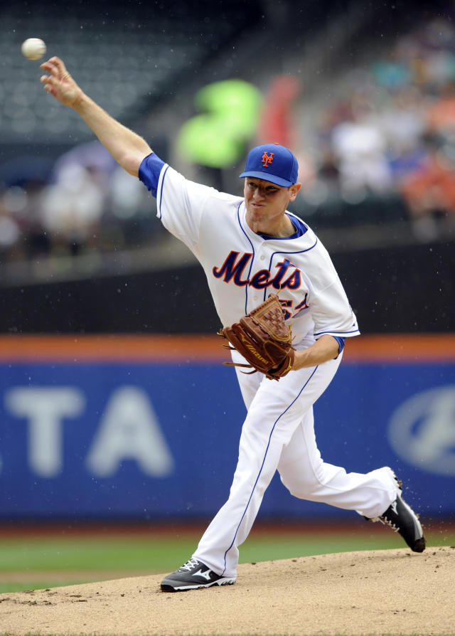 New York Mets pitcher Jeremy Hefner delivers the ball to the Kansas City Royals during the first inning of an interleague baseball game Saturday, Aug. 3, 2013 at Citi Field in New York. (AP Photo/Bill Kostroun)