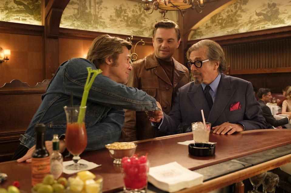 Pitt and DiCaprio with Al Pacino in Once Upon A Time In Hollywood (Credit: Sony)