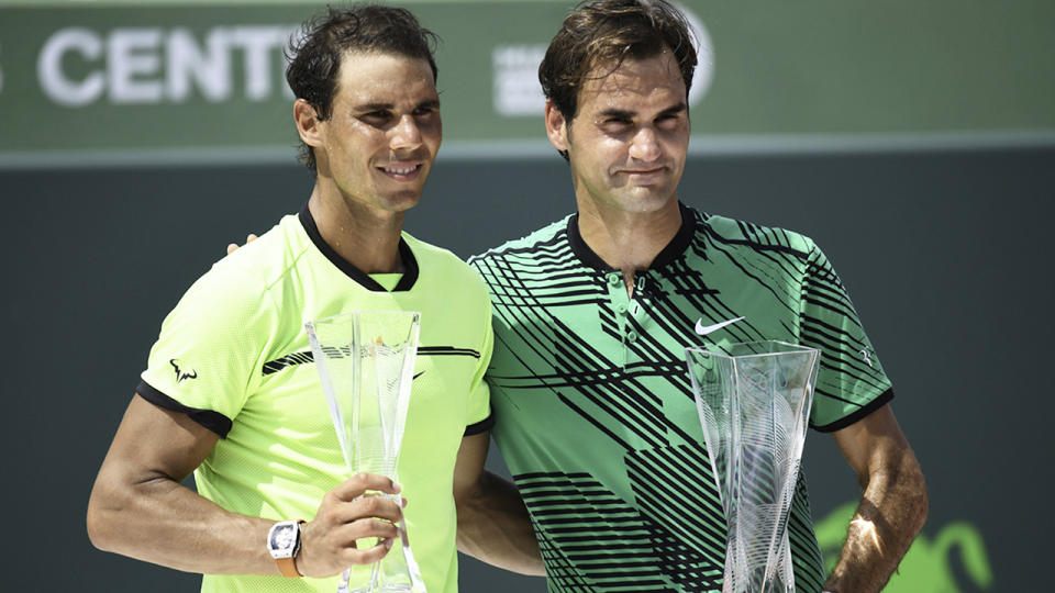 Rafael Nadal and Roger Federer, pictured here after the 2017 Miami Open final.