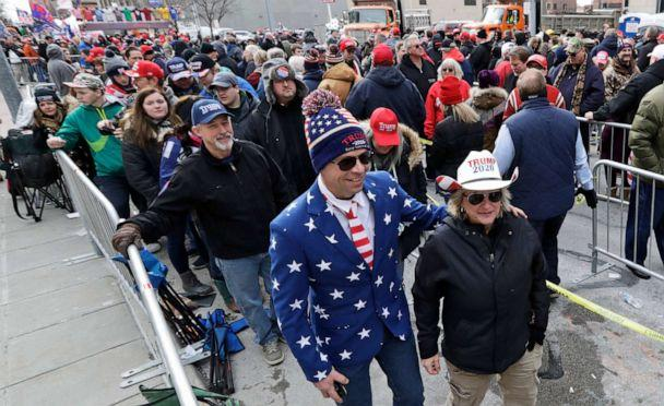PHOTO: Jason and Cindy Fischer wait in line to hear President Donald Trump speak at a campaign rally at the Huntington Center, Jan. 9, 2020, in Toledo, Ohio. (Tony Dejak/AP, FILE)