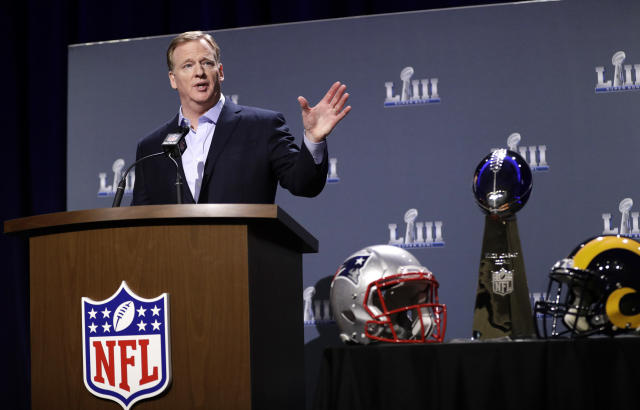 NFL commissioner Roger Goodell spoke about the controversy of the NFC title game that still lingers, even at this week's Super Bowl in Atlanta. (AP)