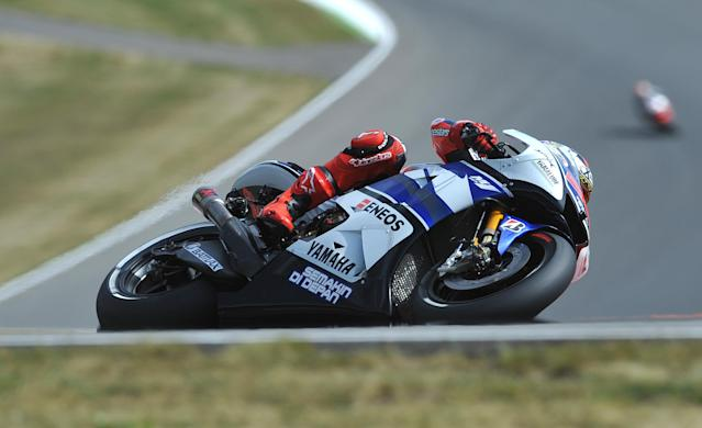 Moto GP rider Jorge Lorenzo rides his Yamaha during the free practice session at the Czech Republic Moto GP on August 24, 2012 in Brno ahead of the Grand prix on August 26. AFP PHOTO/ MICHAL CIZEKMICHAL CIZEK/AFP/GettyImages