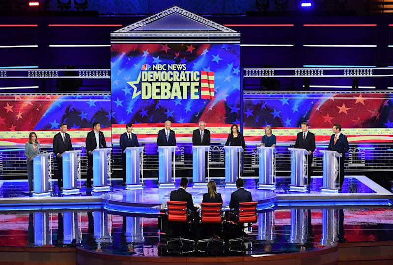 Democratic presidential hopefuls participate in the second Democratic primary debate of the 2020 presidential campaign season hosted by NBC News at the Adrienne Arsht Center for the Performing Arts in Miami, Florida, June 27, 2019. | Saul Loeb—AFP/Getty Images