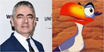 """<p>Yes, the man who brought us Mr. Bean also voiced Mufasa's right-hand bird Zazu in the incredibly iconic 1994 film. But FYI, he didn't do the singing. <a href=""""https://www.imdb.com/name/nm0071818/"""" rel=""""nofollow noopener"""" target=""""_blank"""" data-ylk=""""slk:Jeff Bennett"""" class=""""link rapid-noclick-resp"""">Jeff Bennett</a> stepped in to fill that space and give us the """"Morning Report.""""</p>"""