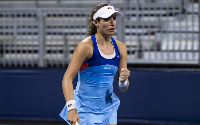 Johanna Konta was a 6-1, 6-4 winner over the American qualifier Jessica Pegula - Getty Images North America
