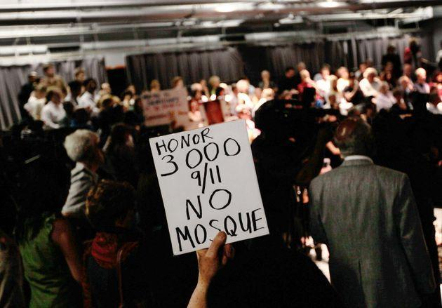 The heated scene at a community board meeting to debate the Cordoba House in Lower Manhattan on May 25, 2010. (Photo: Chris Hondros/Getty Images)