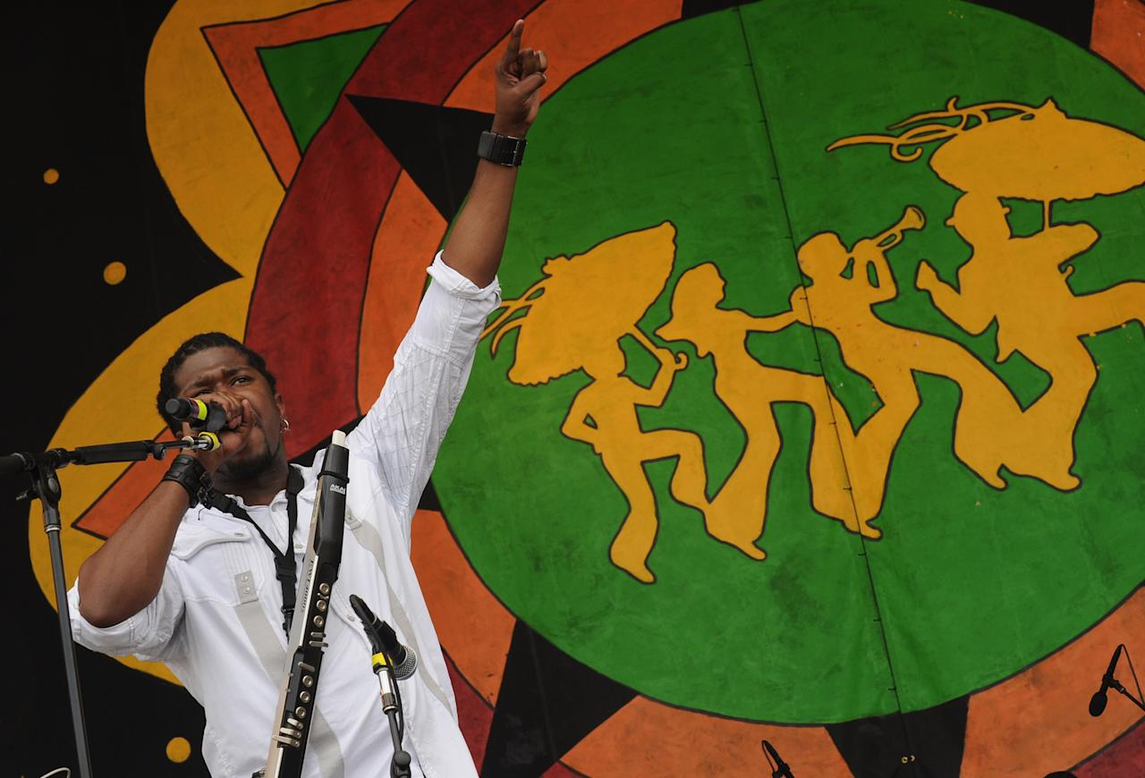 NEW ORLEANS, LA - APRIL 28:  Khris Royal & Dark Matter perform during the 2012 New Orleans Jazz & Heritage Festival Day 2 at the Fair Grounds Race Course on April 28, 2012 in New Orleans, Louisiana.  (Photo by Rick Diamond/Getty Images)