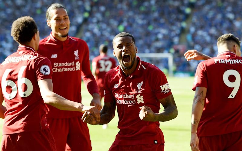 Georginio Wijnaldum of Liverpool celebrates after scoring the opening goal during the Premier League match between Cardiff City and Liverpool  - Liverpool FC