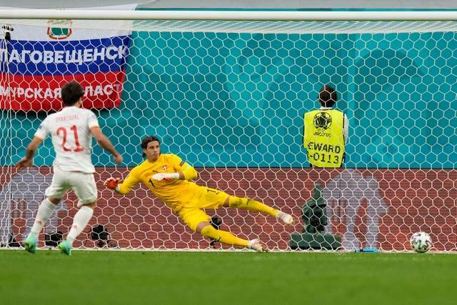Spain's Mikel Oyarzabal scores the winning penalty against Switzerland to book a place in the Euro 2020 semi-finals