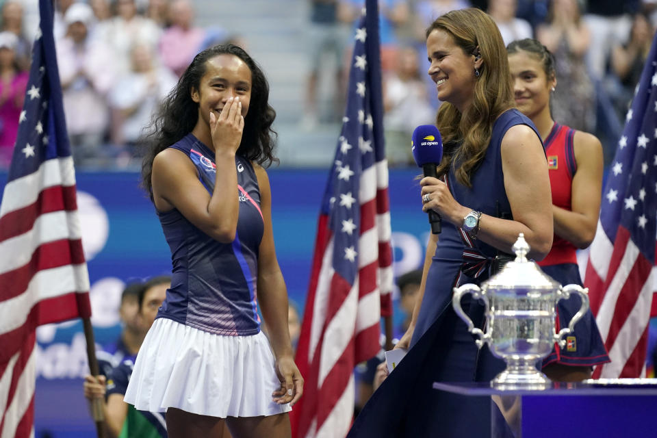 Leylah Fernandez, of Canada, reacts while answering questions after losing to Emma Raducanu, of Britain, during the women's singles final of the US Open tennis championships, Saturday, Sept. 11, 2021, in New York. (AP Photo/Seth Wenig)