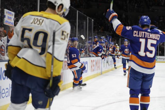 New York Islanders' Casey Cizikas (53) celebrates after scoring a goal during the second period against the Nashville Predators of an NHL hockey game Tuesday, Dec. 17, 2019, in Uniondale, N.Y. (AP Photo/Frank Franklin II)