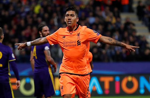Soccer Football - Champions League - Maribor vs Liverpool - Ljudski vrt, Maribor, Slovenia - October 17, 2017 Liverpool's Roberto Firmino celebrates scoring their fifth goal Action Images via Reuters/Paul Childs