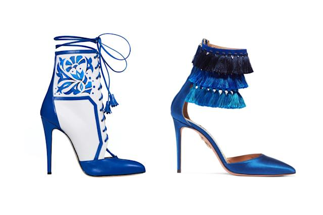 "<p>Brian Atwood for Victoria's Secret ""Porcelain Angel"" boots, left, and Aquazzura + Claudia Schiffer Loulou's tasseled satin pumps, <a href=""https://www.net-a-porter.com/us/en/product/976988/aquazzura/--claudia-schiffer-loulou-s-tasseled-satin-pumps"" rel=""nofollow noopener"" target=""_blank"" data-ylk=""slk:$850 Net-a-Porter"" class=""link rapid-noclick-resp"">$850 Net-a-Porter</a> (Photo: Victoria's Secret/Net-a-Porter) </p>"