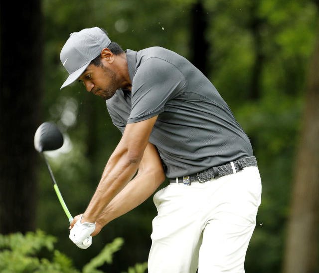 "<a class=""link rapid-noclick-resp"" href=""/pga/players/8805/"" data-ylk=""slk:Tony Finau"">Tony Finau</a> hits from the 17th tee during a practice round for the PGA Championship golf tournament Tuesday, Aug. 7, 2018, at Bellerive Country Club in St. Louis. (AP)"