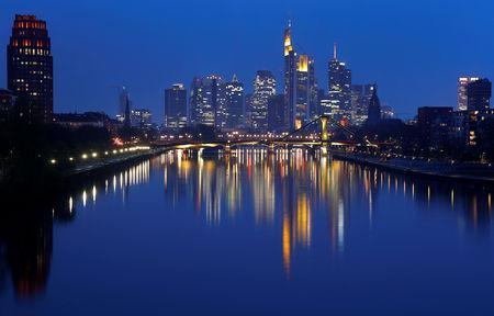 FILE PHOTO: The skyline of banking district is photographed in Frankfurt, Germany, April 9, 2019.   REUTERS/Kai Pfaffenbach/File Photo