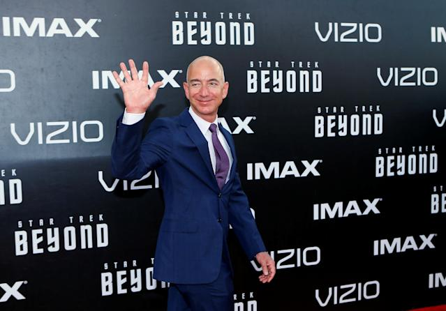 "FILE PHOTO: CEO of Amazon.com Jeff Bezos arrives for the world premiere of ""Star Trek Beyond"" at Comic Con in San Diego, California U.S., July 20, 2016. REUTERS/Mike Blake/File Photo"