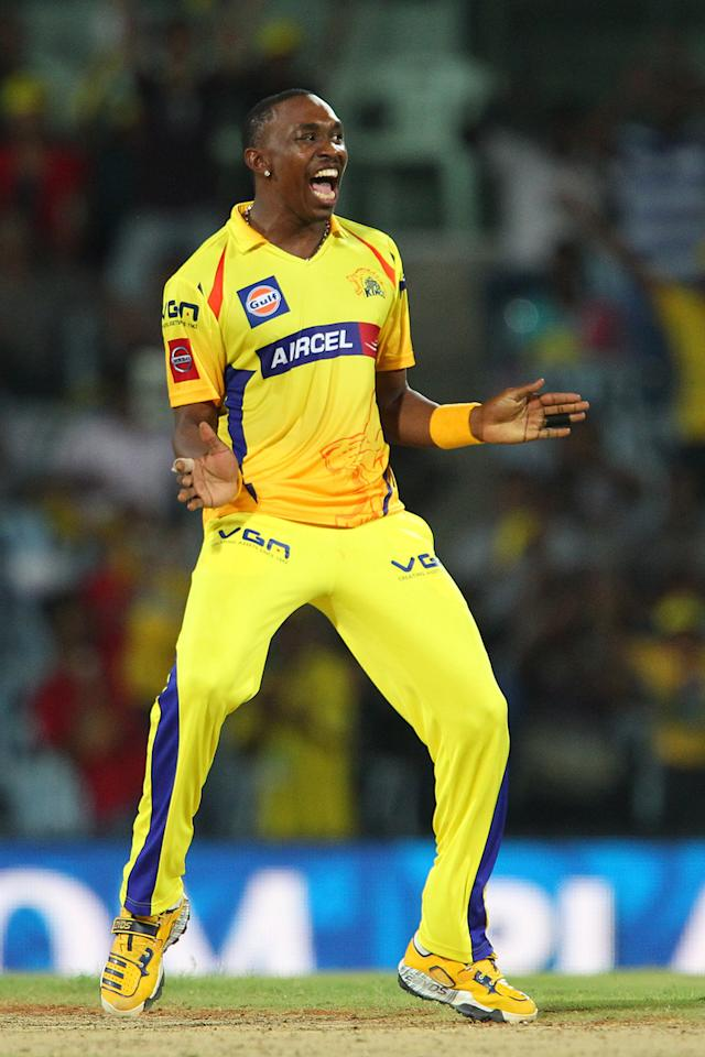 Dwayne Bravo celebrates the wicket of Shaun Marsh during match 45 of the Pepsi Indian Premier League between The Chennai Superkings and the Kings XI Punjab held at the MA Chidambaram Stadium in Chennai on the 2nd May 2013..Photo by Ron Gaunt-IPL-SPORTZPICS   .. .Use of this image is subject to the terms and conditions as outlined by the BCCI. These terms can be found by following this link:..https://ec.yimg.com/ec?url=http%3a%2f%2fwww.sportzpics.co.za%2fimage%2fI0000SoRagM2cIEc&t=1498442668&sig=eviDUHQvwKsHRTfKXjYyxg--~C